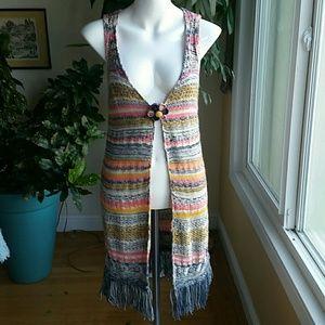 Paper Crane boho long vest size Small